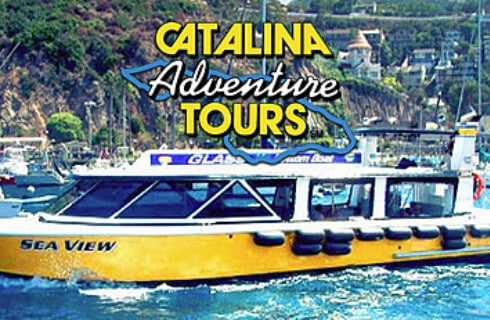 Large yellow boat on the water with text Catalina Adventure Tours